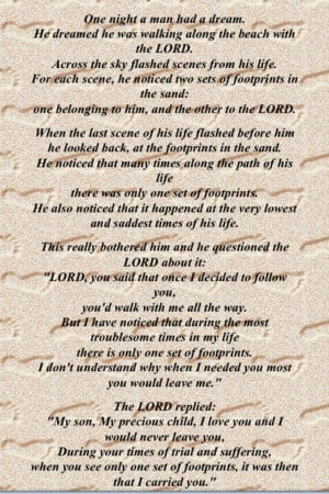 The poem Footsteps In The SandPoems Quotes, Poems Footsteps, Heart ...