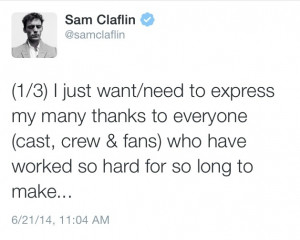 """Sam Claflin Is Very Thankful to Have Been Part of """"The Hunger Games ..."""