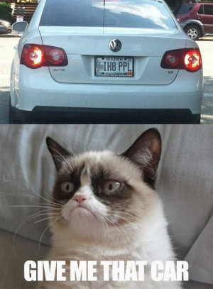 Grumpy cat wants that car with vanity plate: IH8 PPL