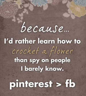 That's why I love pinterest more than fb. It keeps you busy with ...