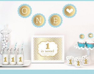 Baby Boy 1st Birthday Theme Decor - Baby Boy Birthday Decorations ...
