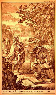 Alexander visits Diogenes in Corinth - Diogenes asks him to stand out ...