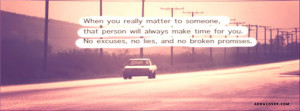No Excuses No Lies And No Broken Promises Facebook Cover