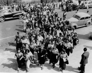 ... Lilian Ngoyi, leading the march to the Union Buildings, 9 August 1956