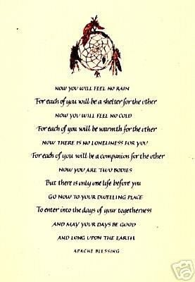 american sayings & blessings, prayers | Native American APACHE WEDDING ...