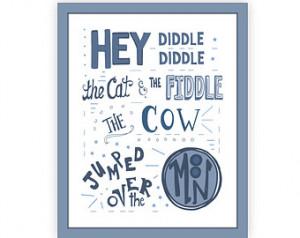 Diddle Diddle Nursery Rhyme Pri nt, 11x14 Mother Goose Nursery Rhyme ...