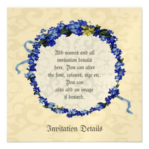 Romantic Vintage Forget-me-not flower frame invite