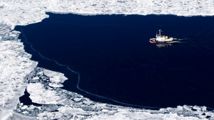 The USCGC Mobile Bay breaks ice in Green Bay in March near Washington ...