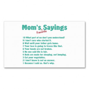 Mom's favorite sayings on gifts for her. business card template from ...