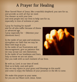 Prayer For Healing The Sick The prayer for healing