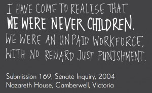 ... Submission 169, Senate Inquiry, 2004, Nazareth House, Camberwell