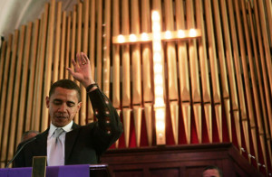 Obama Worships God Before Being Sworn Into Office