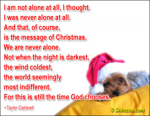 ... That Of Course, Is The Message Of Christmas. We Are Never Alone