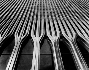 facade of the World Trade Center by American architect Minoru Yamasaki ...