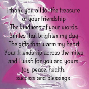 thank you all for the treasure of your friendship faith quote