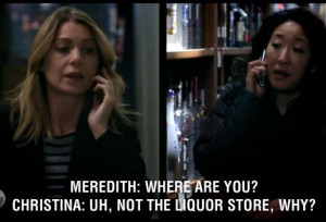 Meredith: Where are you? Cristina: Uh, not the liquor store, why? Grey ...