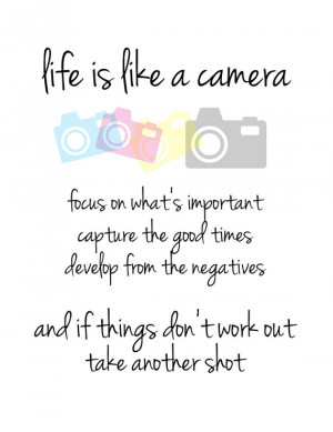 Life is like a Camera: Focus on what's important, capture the good ...