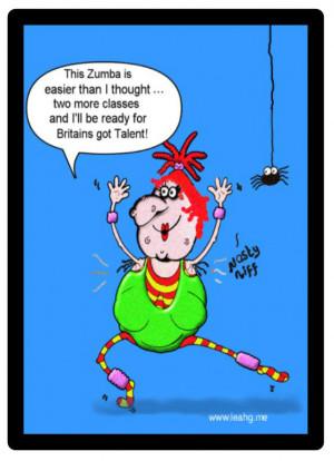 Funny Halloween Cartoon - witch enjoying Zumba classes