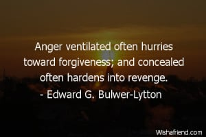 anger-Anger ventilated often hurries toward forgiveness; and concealed ...