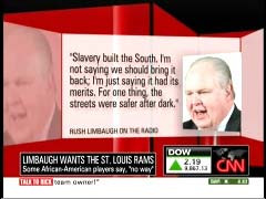 Limbaugh quote graphic from 12 October 2009 edition of CNN's Newsroom ...