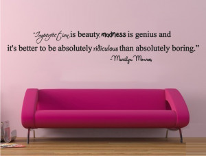 Get this Imperfection is Beauty Quote decal of Marilyn Monroe
