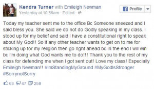 """... quotes Assistant Principal Lynn Garner as saying, """"The child was not"""