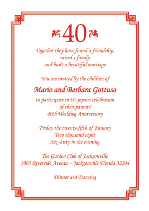 ... 25 Personalized 40th Wedding Anniversary Party Invitations - AP-005