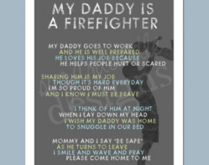My Daddy is a Firefighter - Firefighter Poem 8x10 Print