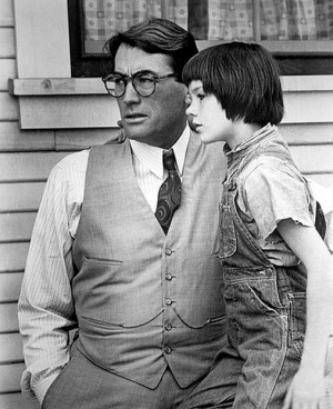 """Mary Badham with Gregory Peck in """"To Kill A Mockingbird"""" (1962)"""