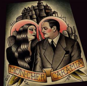 Gomez and Mortica tattoo design