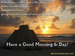 morning is a wonderful blessing ; Either cloudy or sunny ,It stands ...