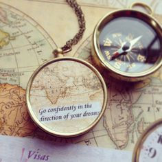 Map compass Necklace, graduation gift, Go Confidently in the Direction ...