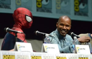 Previous Jamie Foxx laughs with Spider-Man at The Amazing Spider-Man 2 ...
