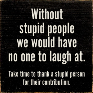 Without stupid people we would have no one to laugh at...