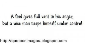 Wise Man Keeps Himself Under Control ~ Anger Quote