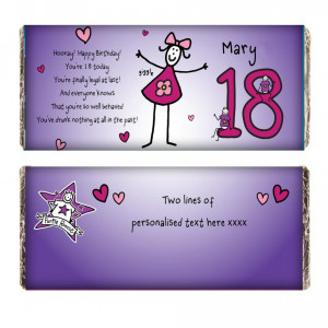 Purple Ronnie Female 18th Birthday Chocolate Bar