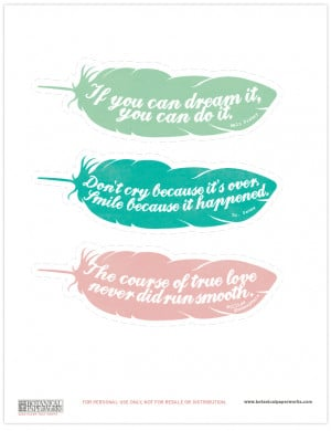 ... FREE printable bookmarks that feature quotes from famous authors