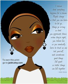 Wonder Marilyn Monroe Quote African American Version by Jaishi, $10 ...