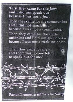 they came first for the Communists. . .