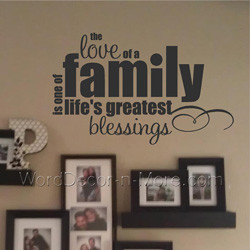images of love of a family removable wall quote word art for home