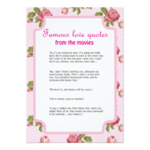 ... quotes from movies Bridal Shower games 5x7 Paper Invitation Card
