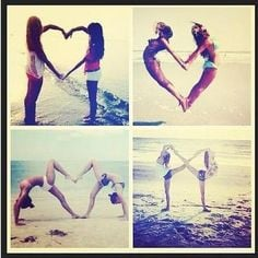 poses with friends heart and infinity shape More