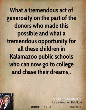 What a tremendous act of generosity on the part of the donors who made ...