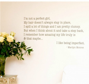 Marilyn Monroe Quote - 'Imperfect' Wall Sticker