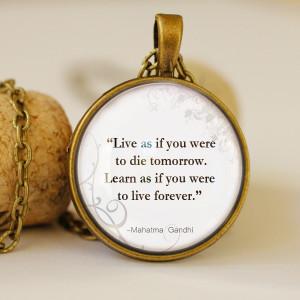mahatma gandhi quotes,motivational pendant, vintage necklace, glass ...