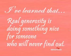 Real Generosity Doing
