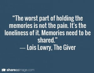 Lois Lowry, The Giver Maybe not from the Wheel of Time, but when ...