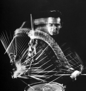 Gjon Mili: Drummer Gene Krupa playing drum at Gjon Mili's studio ...