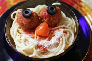 Funny Face Turkey Meatballs and Spaghetti