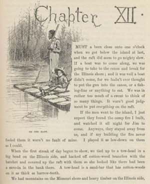 Jim and Huck in On the Raft , illustration by E.W. Kemble for chapter ...